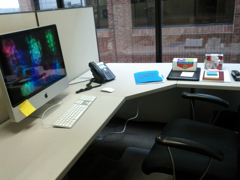 a desk ready for an employee's first day on the job