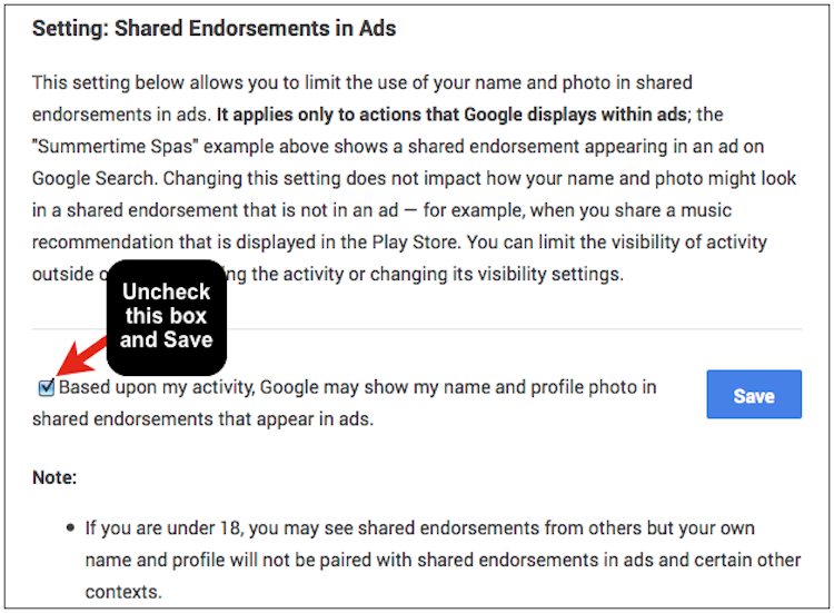 Uncheck the box to remove yourself from Google Shared Endorsement Ads
