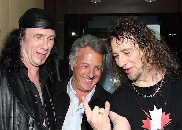 Musicians Robb Reiner and Steve Kudlow of Anvil and Dustin Hoffman at the premiere of Anvil! The Story Of Anvil' at the Egyptian Theater on April 7, 2009 in Los Angeles, California.