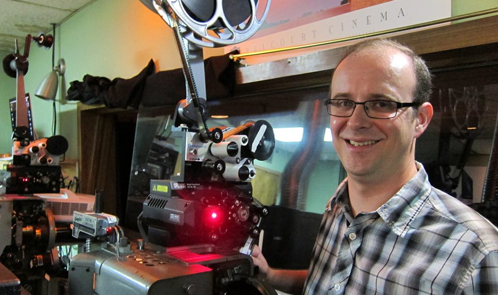 Kirk Futrell, inside the Belcourt Theatre Projection room