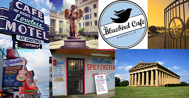 collage of places in Nashville to take visitors