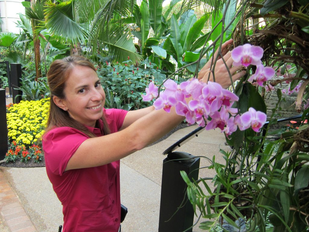 Megan McDugald tends to plants inside the gaylord opryland hostel atrium