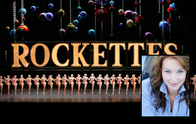 Rockettes performing with inset photo of Jenelle Engleson