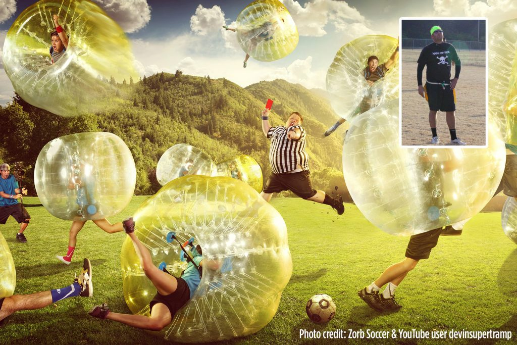 a graphic depicting people playing bubble soccer