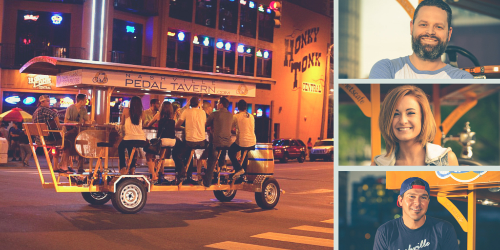 Pedal Tavern and three pedal tavern drivers collage