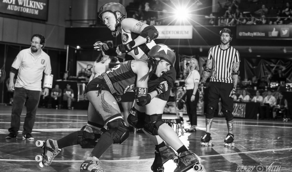Lady Fury seldom, if ever, backs down from the opportunity to get up close and personal with opponents. Credit: Keith Bielat/Derby With Recess