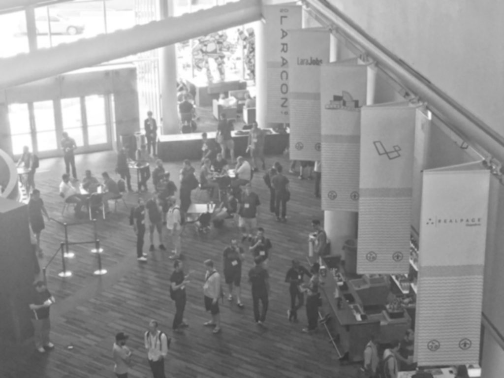 Laracon black and white photo of conference attendees