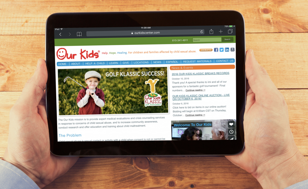 Our Kids website as viewed on a tablet
