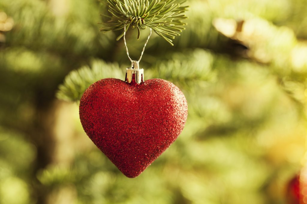 heart ornament on a Christmas Tree