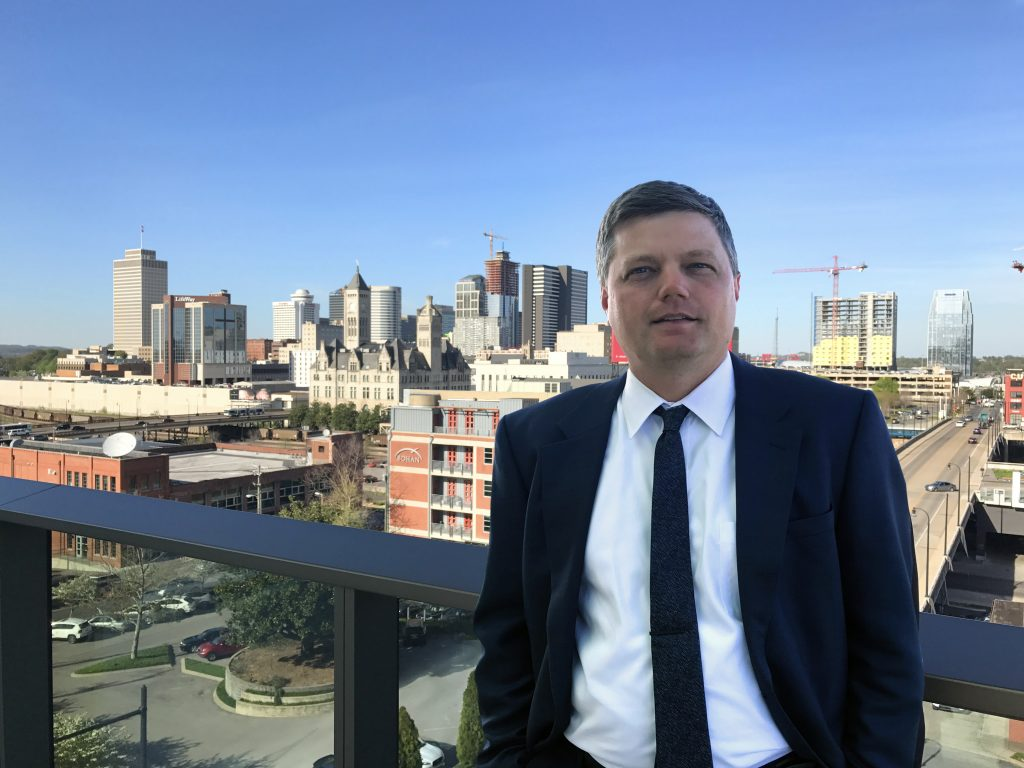 Nashville Severe Weather's David Drobny poses in front of the Nashville skyline.