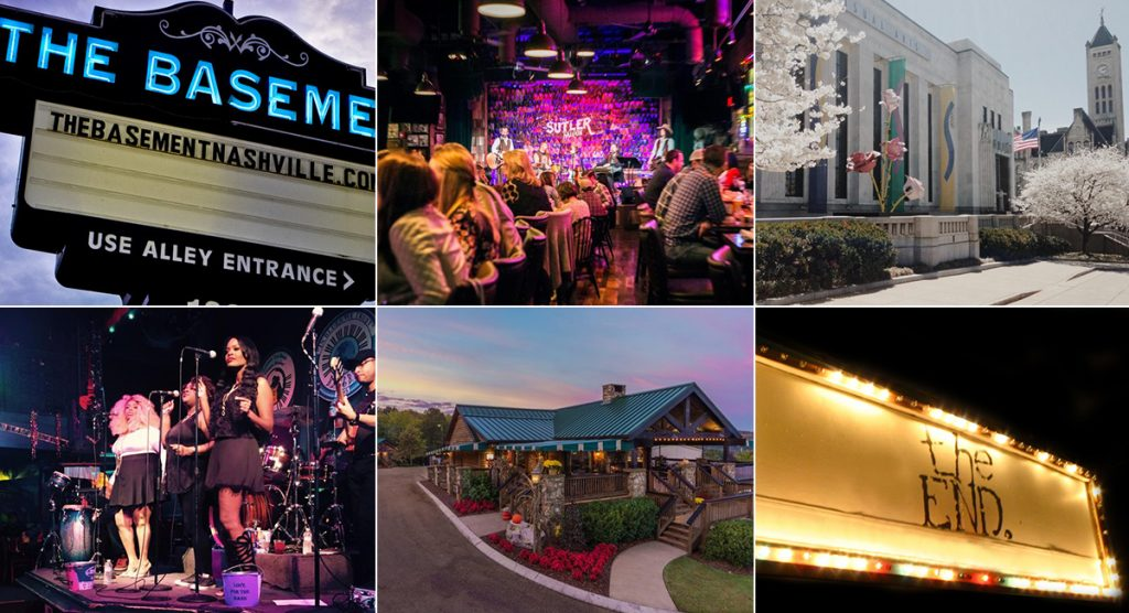 Non-country music venues in Nashville including the Basement, The Sutler, The Frist Center for the Visual Arts, The Wildhorse Saloon, Arrington Vineyards and The End