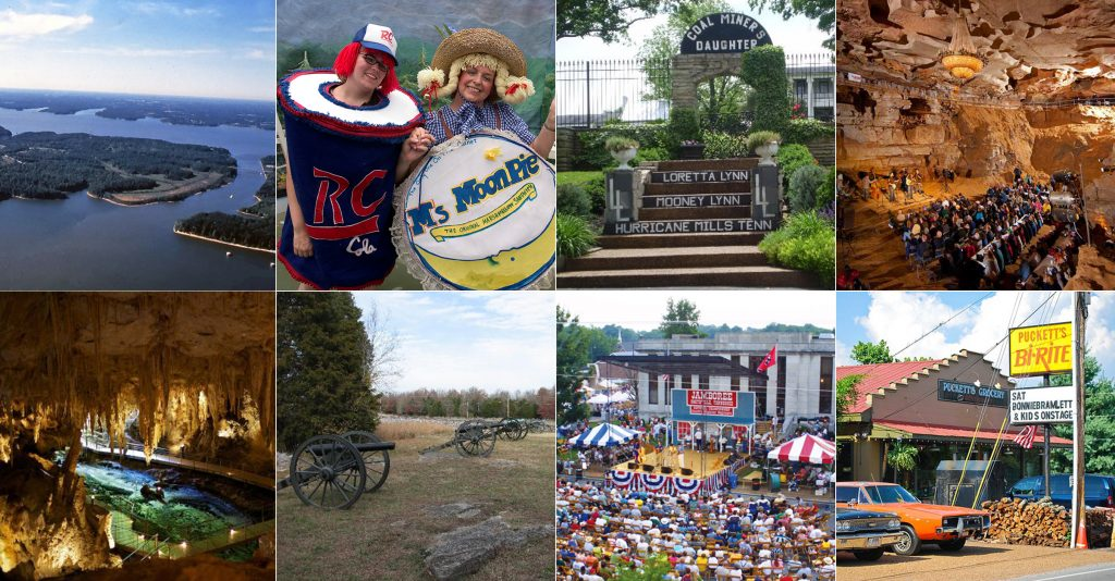 collage of locations for Day Trips from Nashville including land between the lakes, the rc and moonpie festival, loretta lynn's ranch, cumberland caverns, stones river battlefield and leipers fork tn
