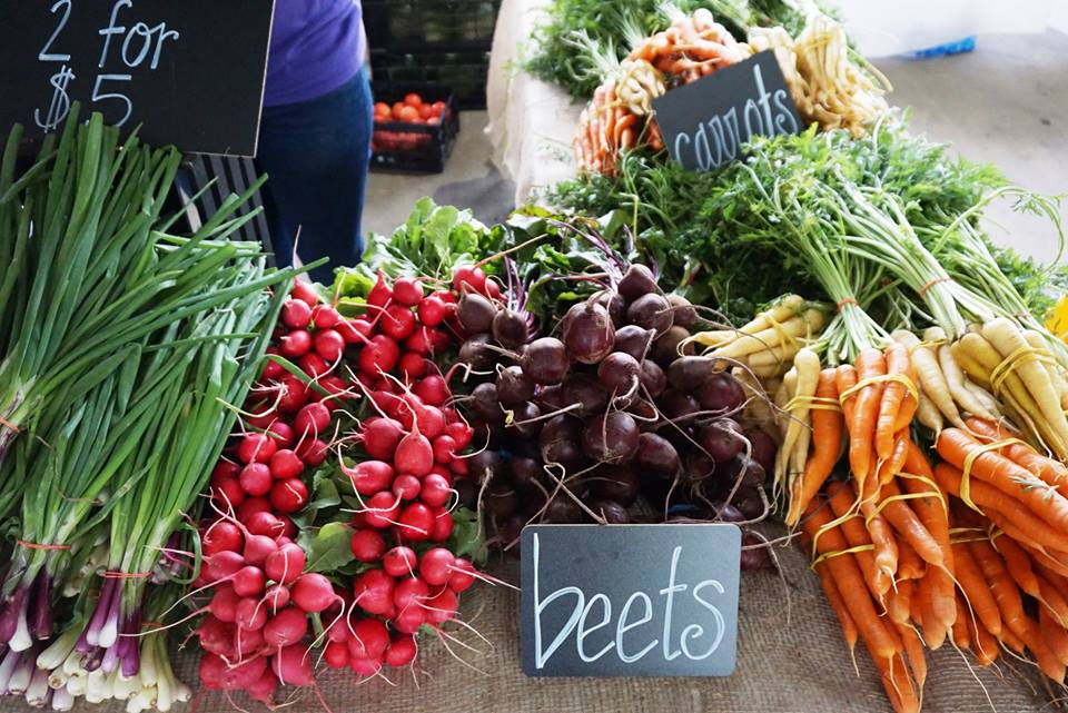 A display of fresh fruits and vegetables at the Nashville Farmers Market.