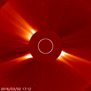 An image of the sun in a coronagraph