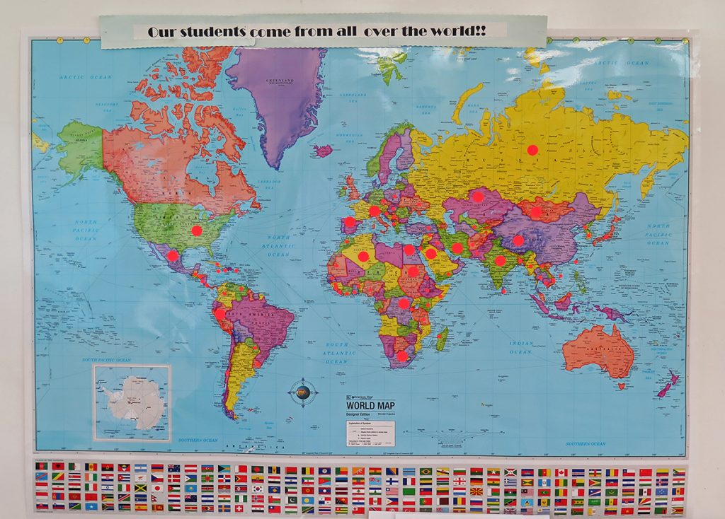Map of the world with stickers marking where Nashville Adult Ltiteracy Council students are from.