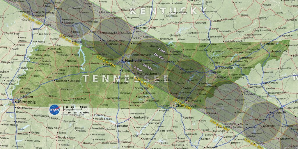 map illustration of 2017 total solar eclipse path over Tennessee and Kentucky