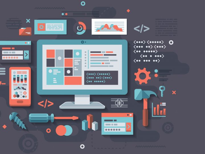 illustration of web design and development tools