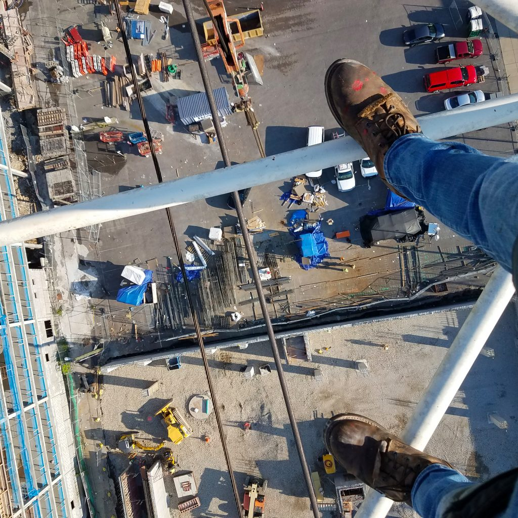 looking down from crane